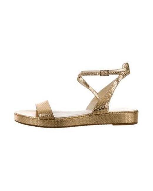 a2c20273f7f4 MICHAEL Michael Kors - Metallic Michael Kors Leather Buckle Strap Sandals  Gold - Lyst ...