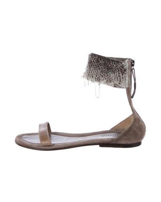 cc6abbc7d4e Brunello Cucinelli - Gray Leather Monili Sandals - Lyst ...