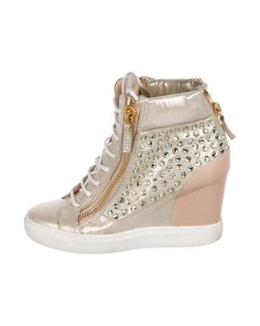 3ca8321d92d5 Giuseppe Zanotti - Pink Embellished Wedge Sneakers - Lyst ...