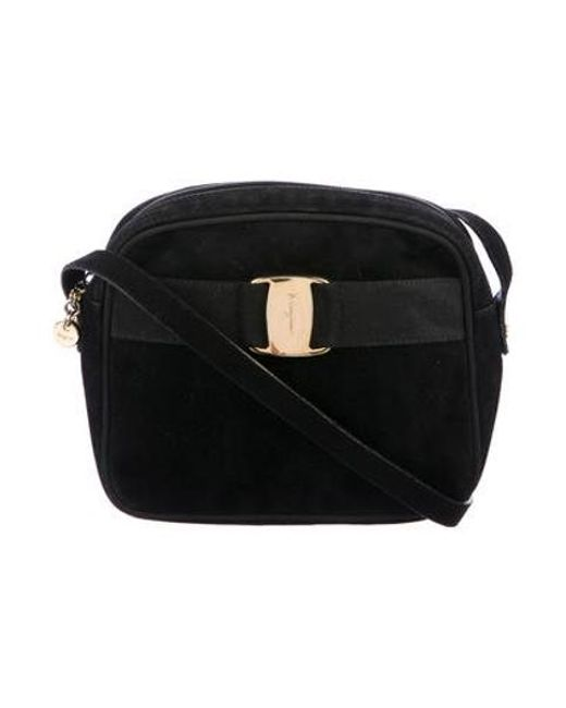 08cd51917184 Ferragamo - Metallic Vintage Suede Vara Crossbody Bag Black - Lyst ...