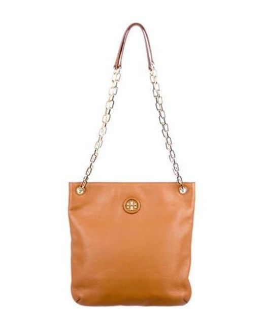304a021f8e4c Tory Burch - Metallic Pebbled Leather Shoulder Bag Tan - Lyst ...