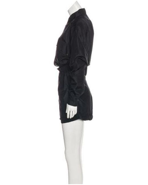a95245d00f55 ... Faith Connexion - Black Silk Long Sleeve Military Romper W  Tags - Lyst  ...