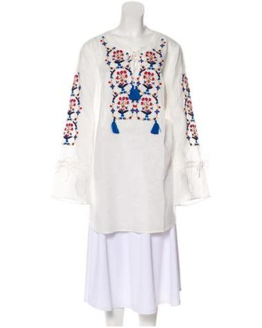 d8bbbfc1b0d Tory Burch - White Linen Wildflower Embroidered Beach Tunic W  Tags - Lyst  ...