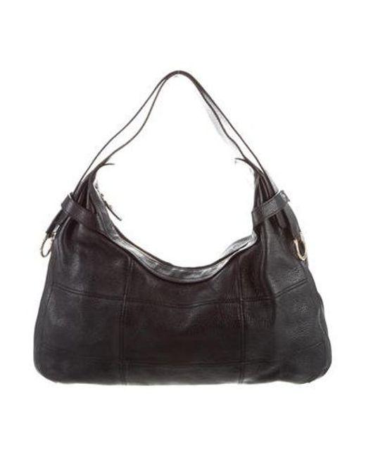6b264a006893 Ferragamo - Metallic Leather Shoulder Bag Black - Lyst ...