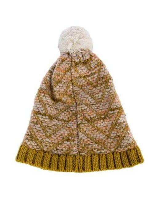 58be19c2fca ... Missoni - Metallic Knit Pom-pom Beanie Multicolor - Lyst ...