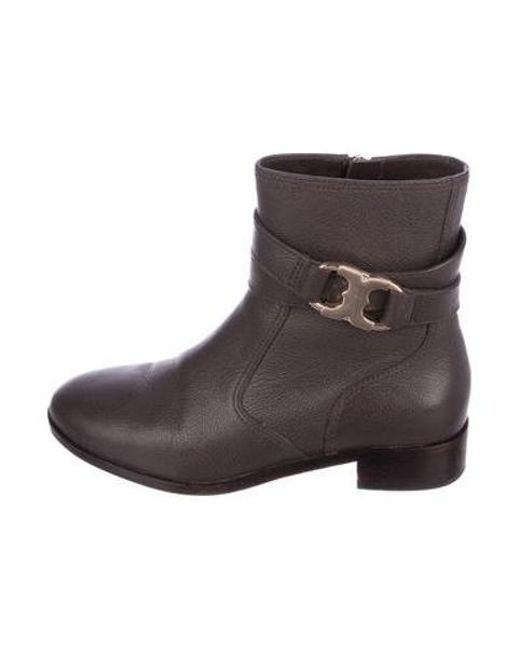 5c13f2defbd5 Tory Burch - Metallic Round-toe Ankle Boots Brown - Lyst ...