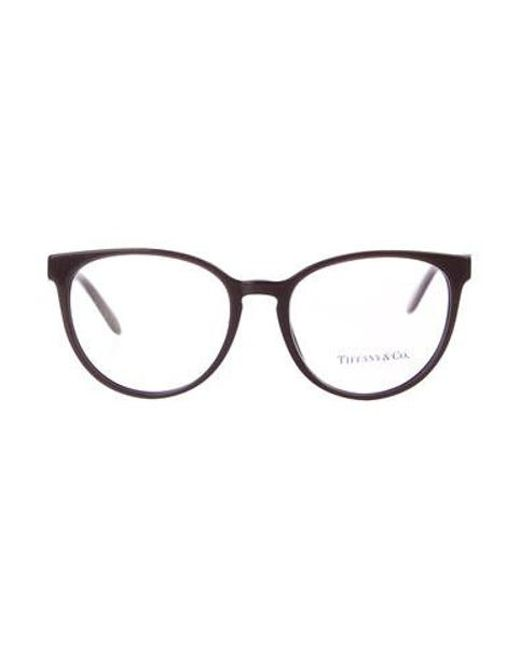 52b22383801b Tiffany   Co - Metallic Round Logo Eyeglasses Brown - Lyst ...