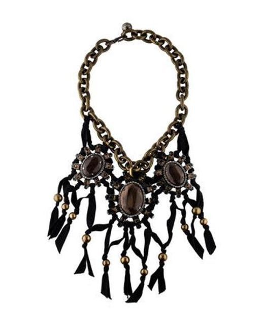 Lanvin - Metallic Crystal And Wood Jewel Choker Necklace W/ Tags Brass - Lyst