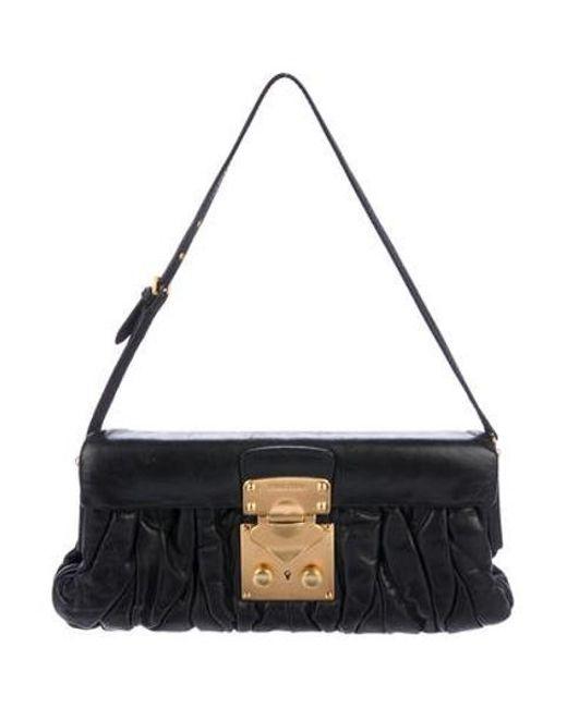 7aa3c373e7 Miu Miu - Metallic Miu Matelassé Leather Shoulder Flap Bag Black - Lyst ...