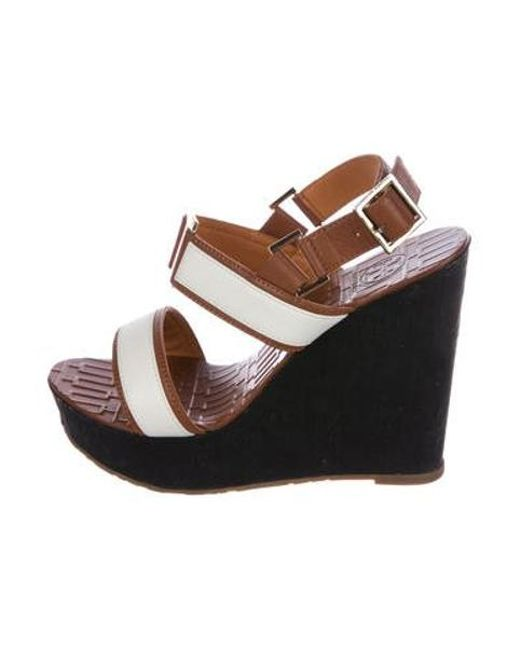 ba0d3eeeaca Tory Burch - Brown Leather Platform Wedges - Lyst ...