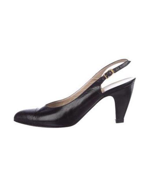 e4f0d81dcf2 Ferragamo - Metallic Leather Cap-toe Pumps Black - Lyst ...