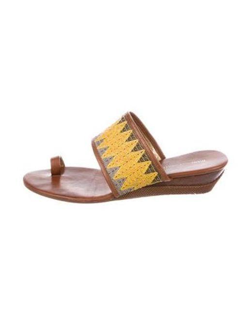 eeed6fb94a57 Diane von Furstenberg - Brown Leather Thong Sandals - Lyst ...