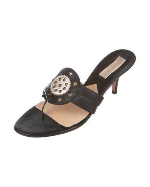1023e85f0a4 ... Michael Kors - Black Leather Slide Sandals - Lyst ...