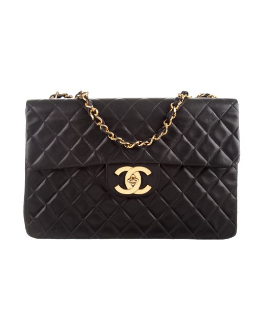 Chanel | Metallic Classic Maxi Single Flap Bag Black | Lyst