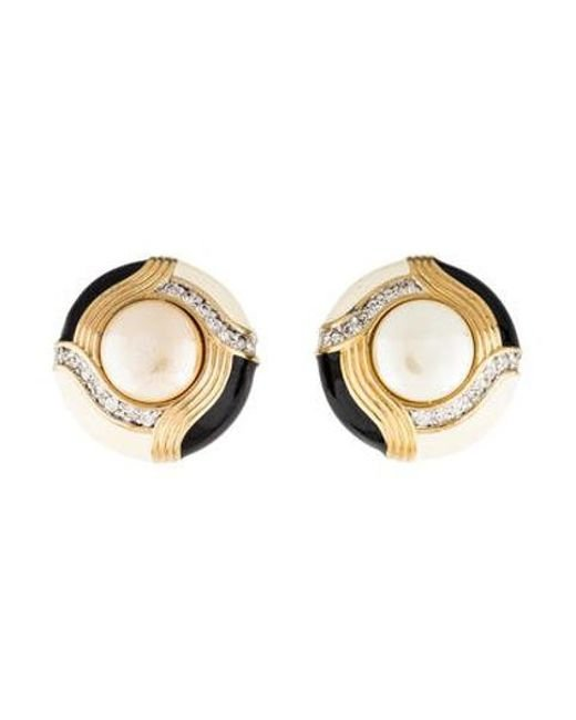 Judith Leiber Metallic Faux Pearl Crystal Enamel Clip On Earrings Gold
