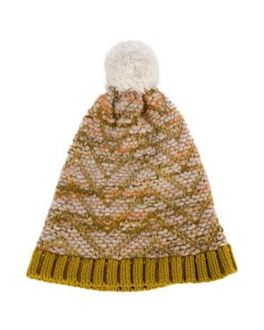 7b08dd08c3b Missoni - Metallic Knit Pom-pom Beanie Multicolor - Lyst ...
