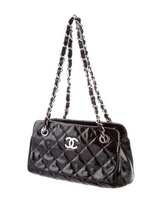 785851d025d0f6 ... Chanel - Metallic Patent Quilted Shopping Tote Black - Lyst ...