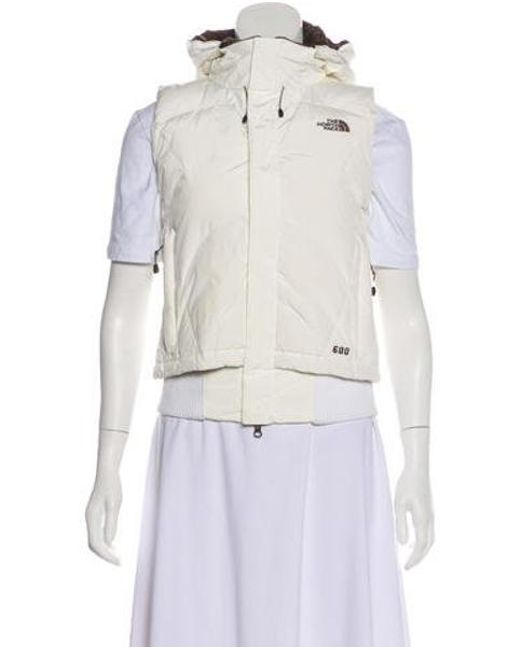 The North Face - White Hooded Down Vest - Lyst ... d71d57419