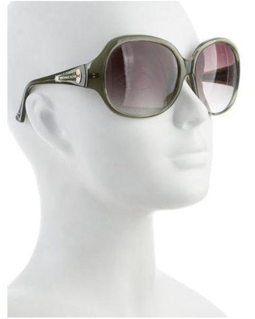 a012a8b7d9450 ... Michael Kors - Metallic Round Oversize Sunglasses Green - Lyst