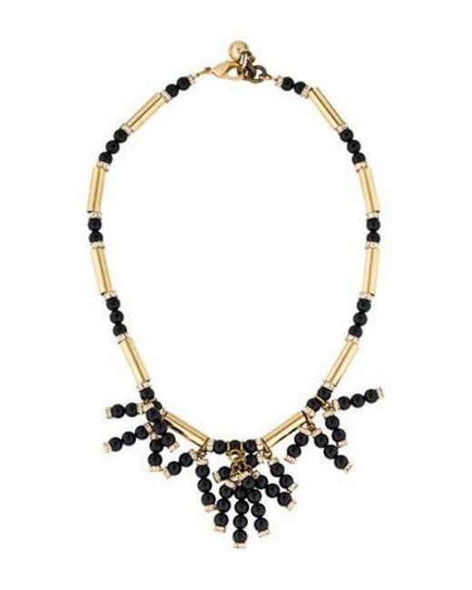 Lulu Frost - Metallic Embellished Fringe Bead Necklace Gold - Lyst