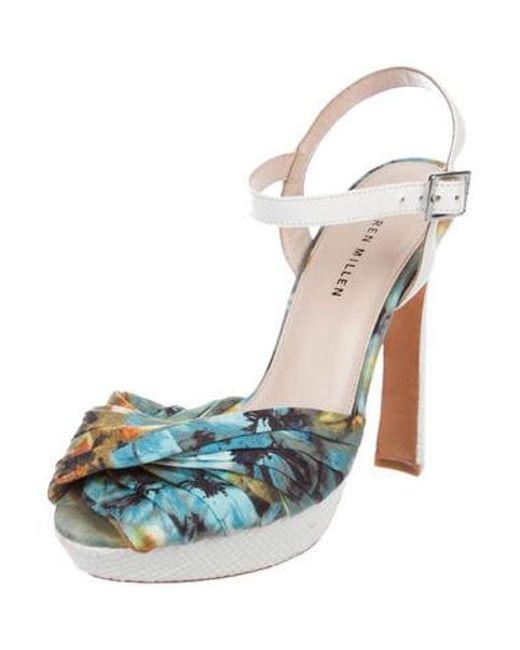 f94dada67bc4 ... Karen Millen - Blue Platform Ankle Strap Sandals - Lyst ...
