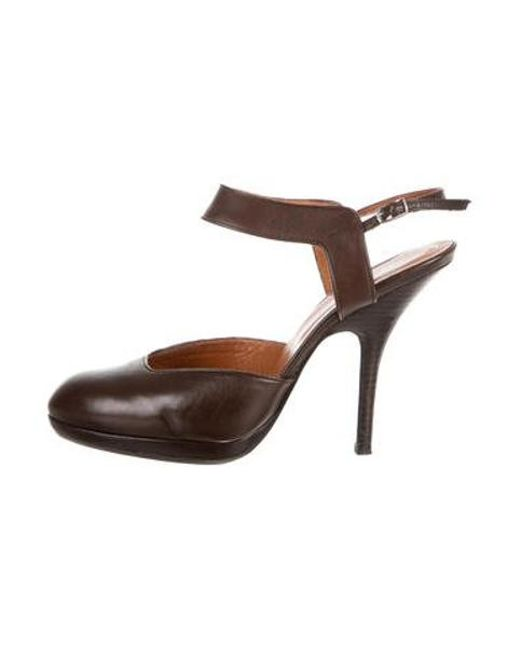 ad55d0a199 Dries Van Noten - Brown Leather Round-toe Slingback Pumps - Lyst ...