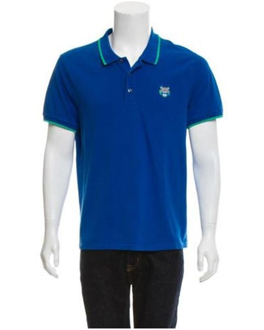 85e28ccce75c KENZO - Blue Tiger-embroidered Polo Shirt for Men - Lyst ...