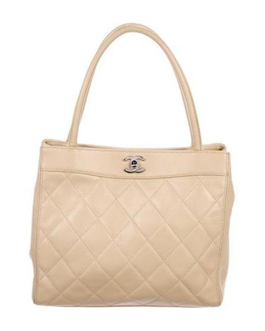 6de8add6f950 Chanel - Metallic Vintage Lambskin Handle Bag Tan - Lyst ...