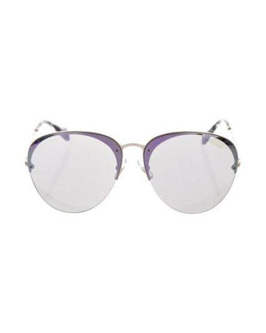 7c19e8f0f Miu Miu - Metallic Miu Mirrored Round Sunglasses Gold - Lyst ...