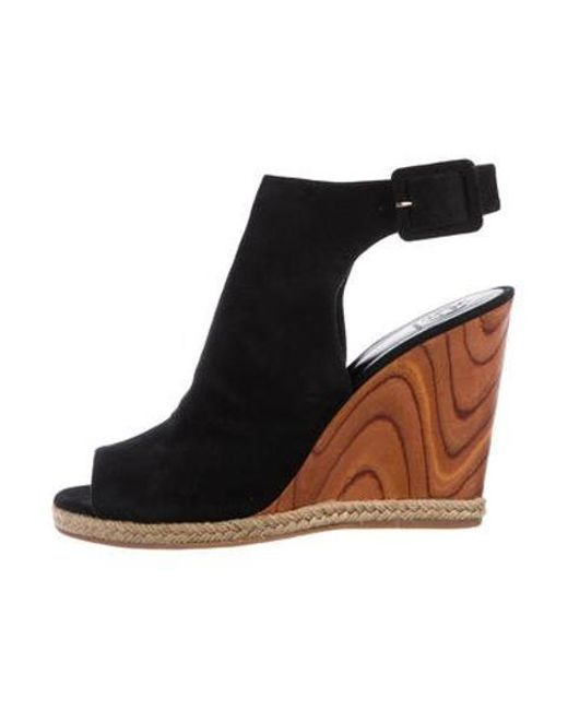 e33869128e99 Tory Burch - Metallic Suede Ankle Strap Wedges Black - Lyst ...
