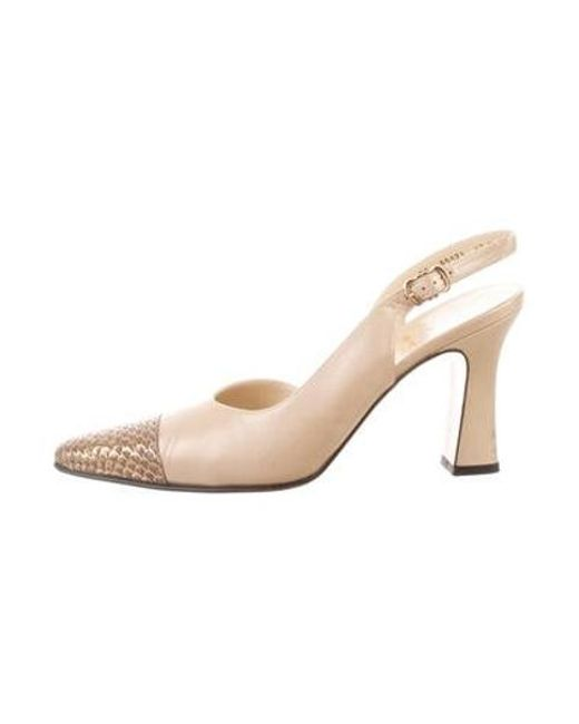 4f72203690c7 Ferragamo - Natural Cap-toe Slingback Pumps Tan - Lyst ...