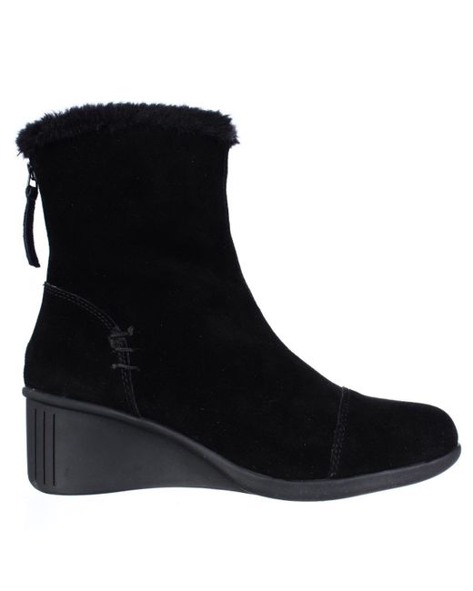 Aerosoles Bravery Wedge Fleece Lined Winter Boots In Black
