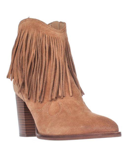 Sam Edelman | Brown Benjie Western Fringe Ankle Boots | Lyst