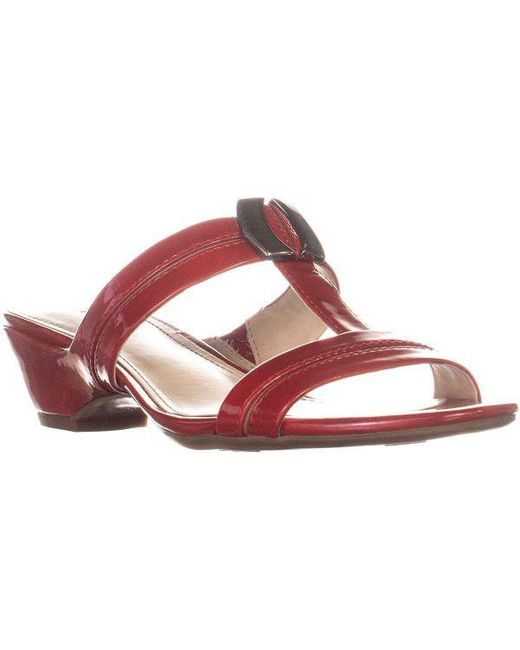 0f19de54156a6d Naturalizer - Red Arabella Wedge Slip On Sandals - Lyst ...