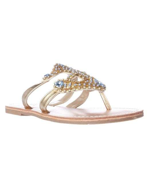 Mojo Moxy | Metallic Dolce By Ahoy Jeweled Anchor Flat Sandals | Lyst
