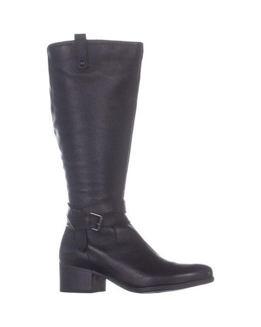 09d09554bf7e ... Naturalizer - Black Kim Wide Calf Belted Ankle Knee High Botos - Lyst  ...