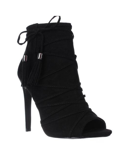 Madden Girl - Koorset Peep Toe Tassel Ankle Boots - Black - Lyst