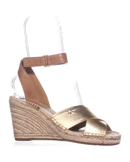 e10160910 Lyst - Tory Burch Bima Espadrille Wedge Sandals in Metallic - Save 26%