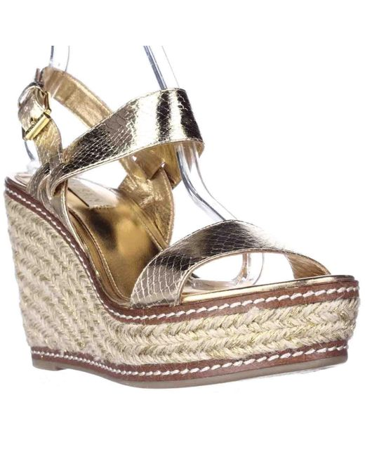 lauren by ralph lauren lauren ralph lauren serana wedge espadrille sandals gold in metallic. Black Bedroom Furniture Sets. Home Design Ideas