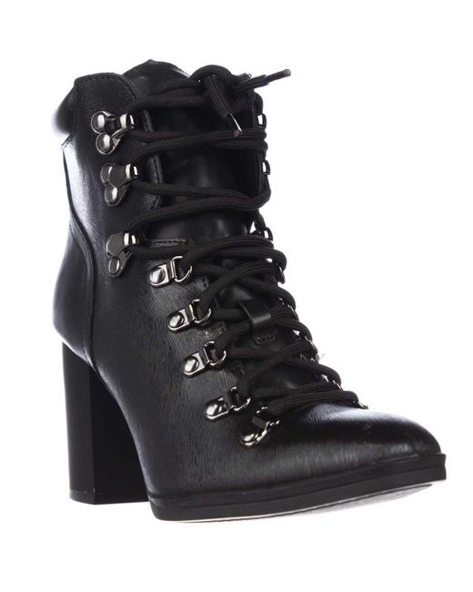 Calvin Klein | Black Evee Lace Up Casual Heeled Boots | Lyst