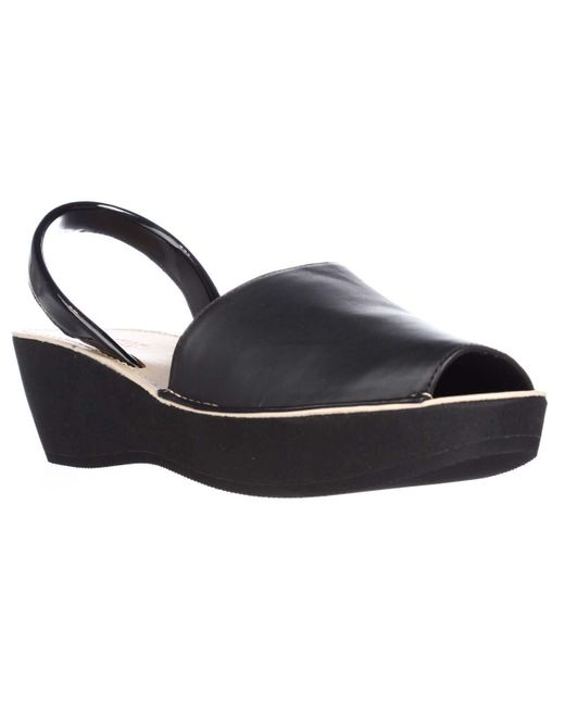 Kenneth Cole | Black Reaction Fine Glass Perforated Wedge Sandals | Lyst