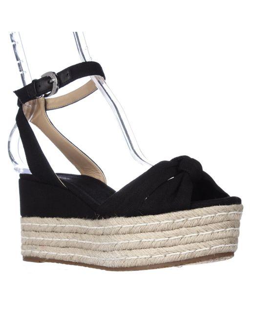 Michael Kors | Black Michael Maxwell Mid Wedge Platform Ankle Strap Sandals | Lyst