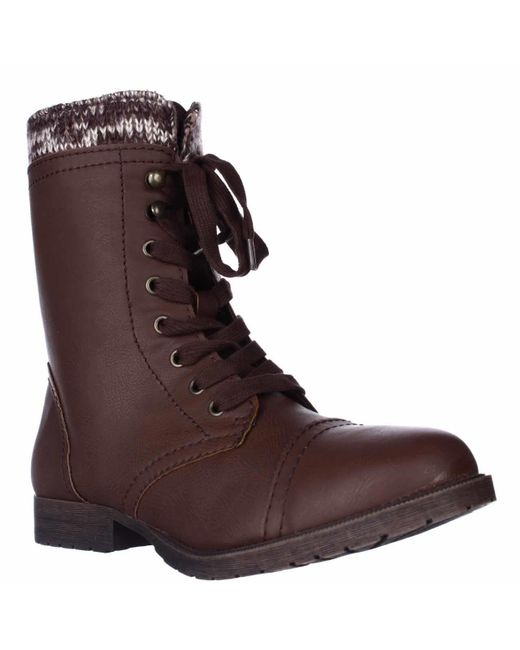 Rampage   Brown Jeliana Combat Military Boots   Lyst