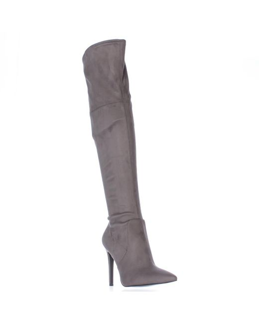 Guess | Gray Akera Over The Knee Pointed Toe Heeled Dress Boots | Lyst