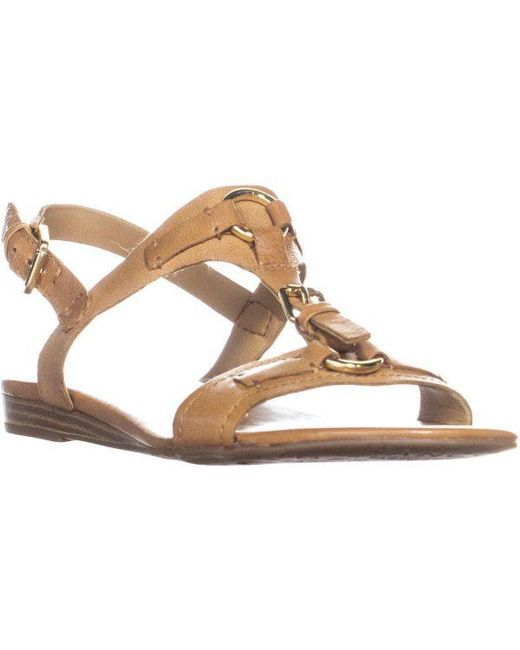 9ab68b17b3cf Lyst - Franco Sarto Gili Buckled Flat Sandals in Metallic