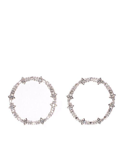 Fallon - Multicolor Jagged Crystal Cheekbone Hoops - Lyst