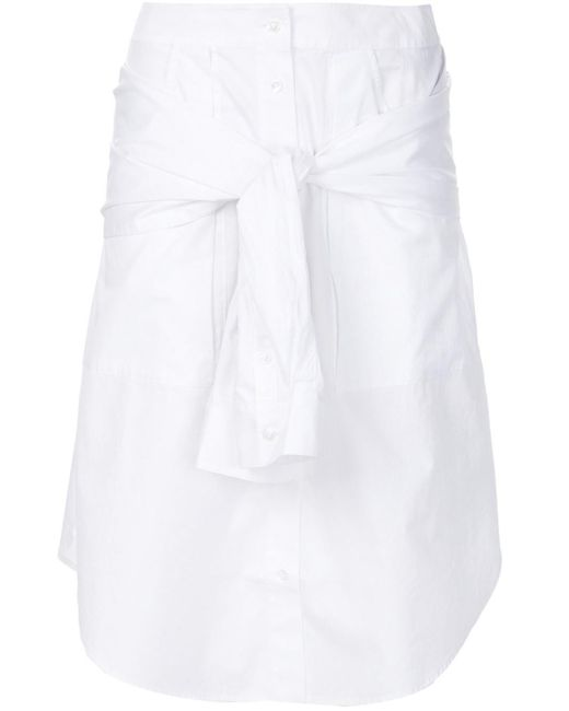 T By Alexander Wang - White Shirt Style A-line Skirt - Lyst