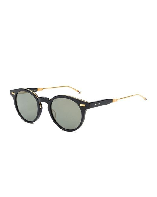 Men s Round Gold Frame Sunglasses : Thom browne Foldable Round Frame Sunglasses in Gold for ...