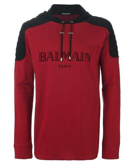 Balmain | Red Logo Hoodie for Men | Lyst