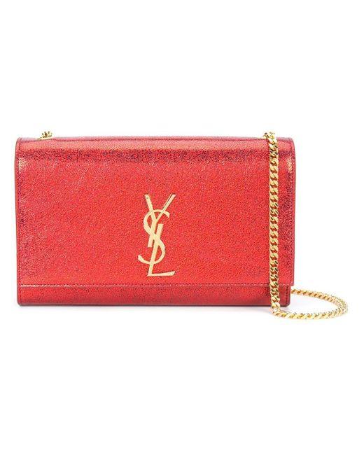 Saint Laurent | Red Textured-leather Shoulder Bag | Lyst